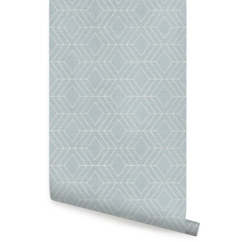 Diamond Geometric Art Deco Lines Peel and Stick Wallpaper - Light Blue
