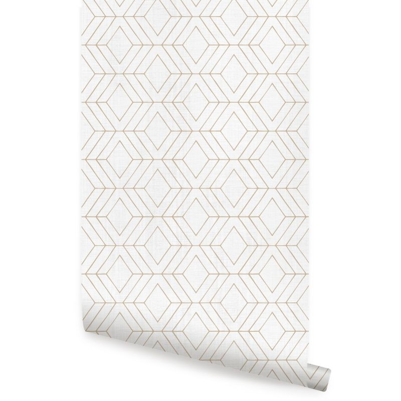Diamond Geometric Art Deco Lines - Off White