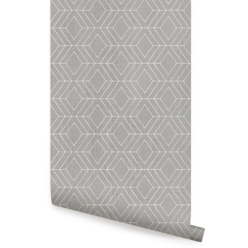 Diamond Geometric Art Deco Lines Peel and Stick Wallpaper - Storm Grey