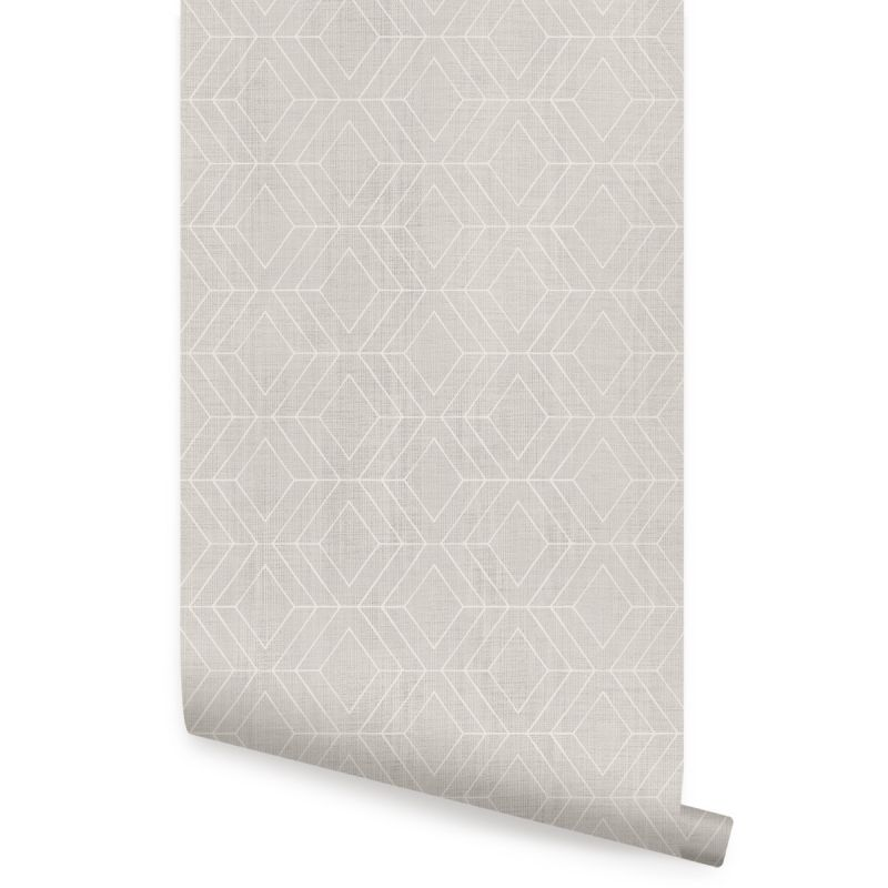 Diamond Geometric Art Deco Lines Peel and Stick Wallpaper - Warm Grey