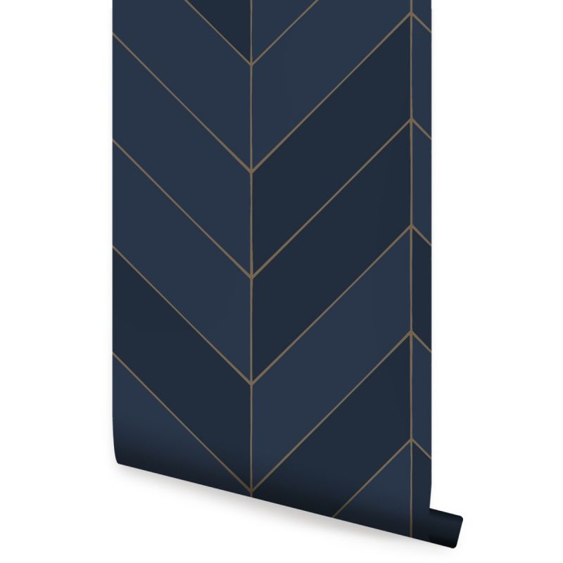 Gold Lines Chevron Peel and Stick Wallpaper - Navy