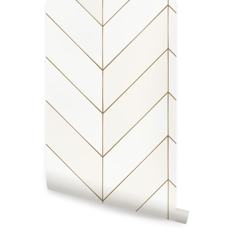 Gold Lines Chevron Wallpaper - Off White