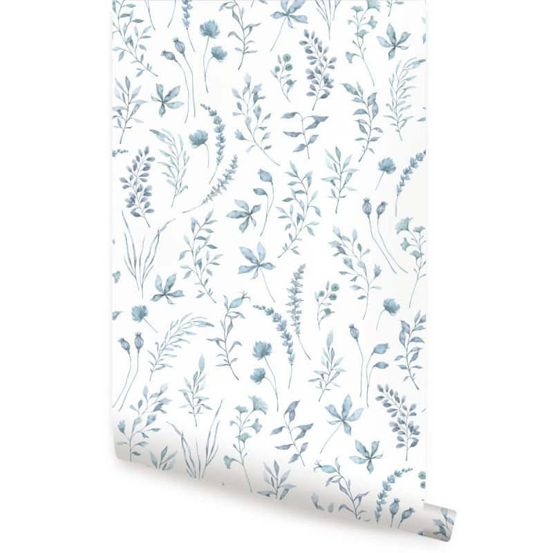 Watercolor Botanical Leaves Peel and Stick Wallpaper - Blue