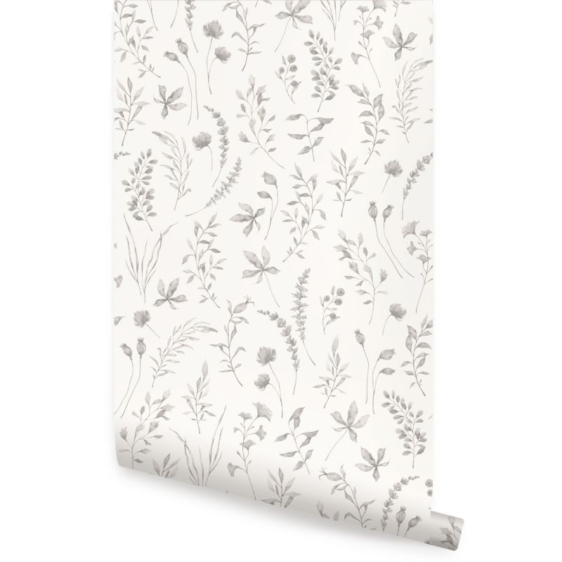 Watercolor Botanical Leaves Peel and Stick Wallpaper - Grey