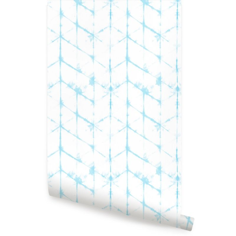 Tie Dye Hexagon Lines Peel and Stick Wallpaper - Aqua Blue