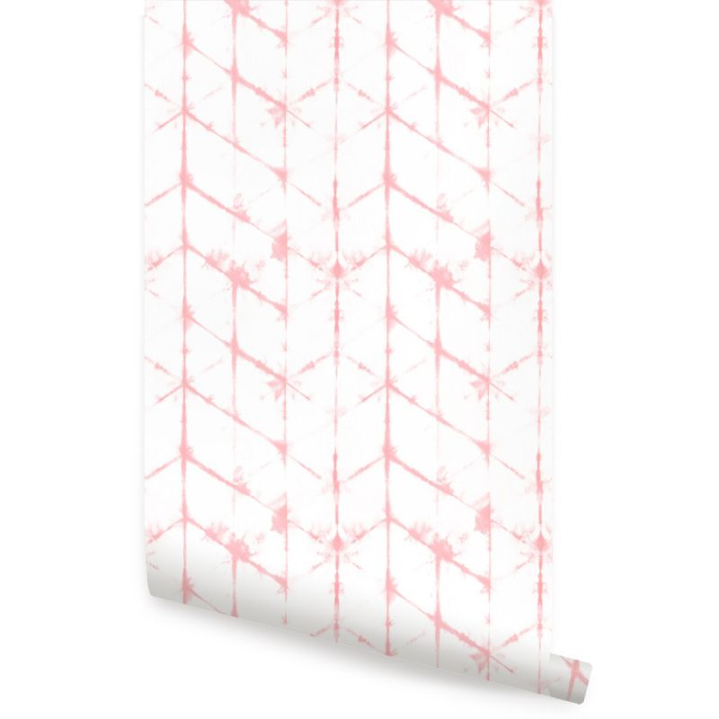Tie Dye Hexagon Lines Peel and Stick Wallpaper - Coral