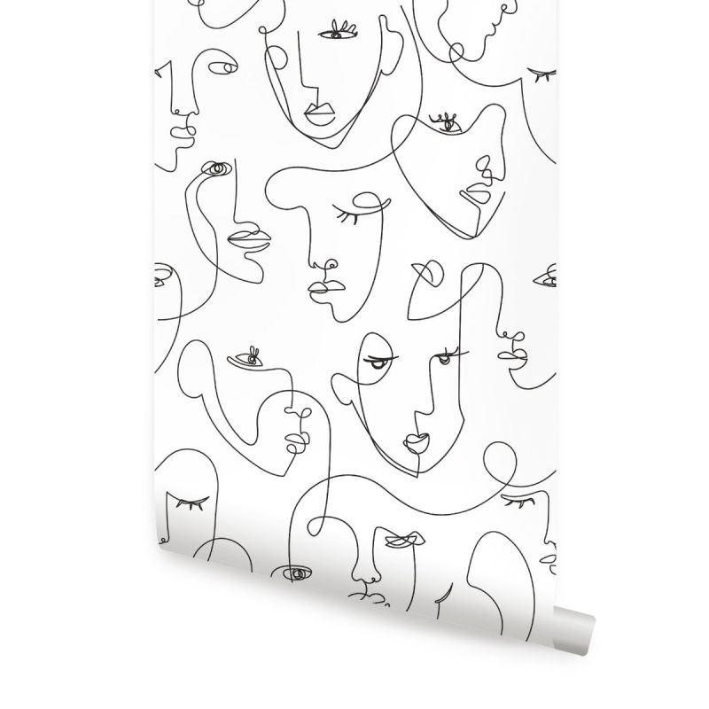 Minimalist Faces Line Art Wallpaper - Peel and Stick