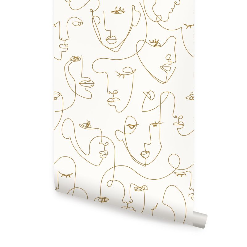 Minimalist Faces Line Art Wallpaper - Peel and Stick - Gold - 48