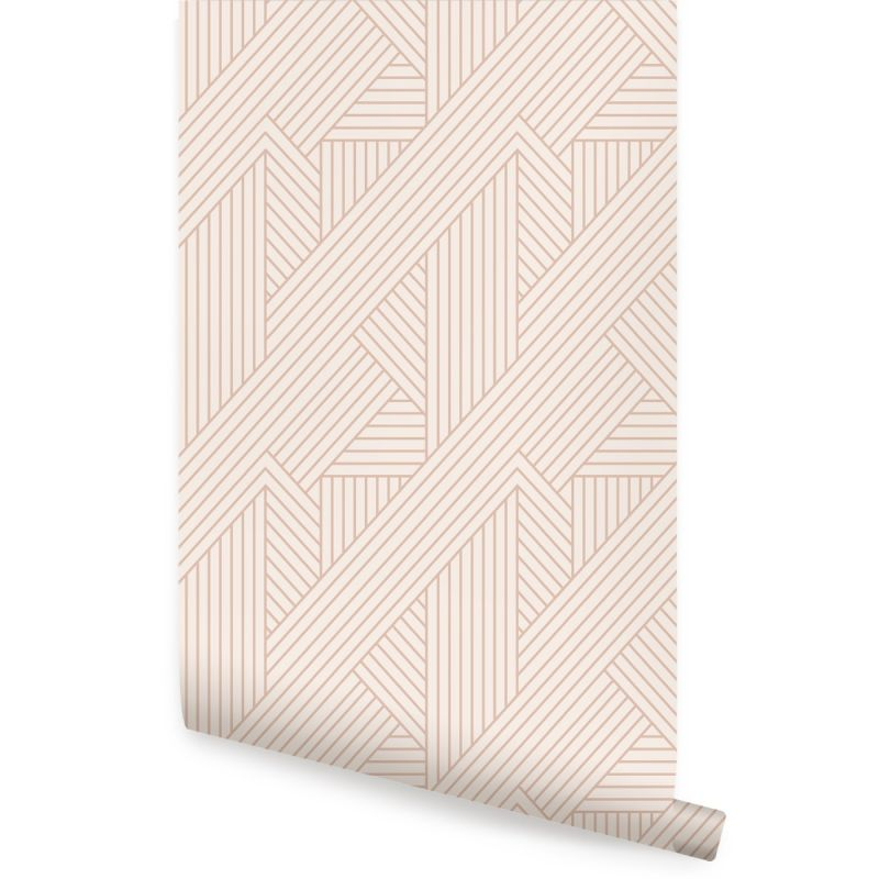 Interwoven Parquet Pattern Peel and Stick Wallpaper - Coral