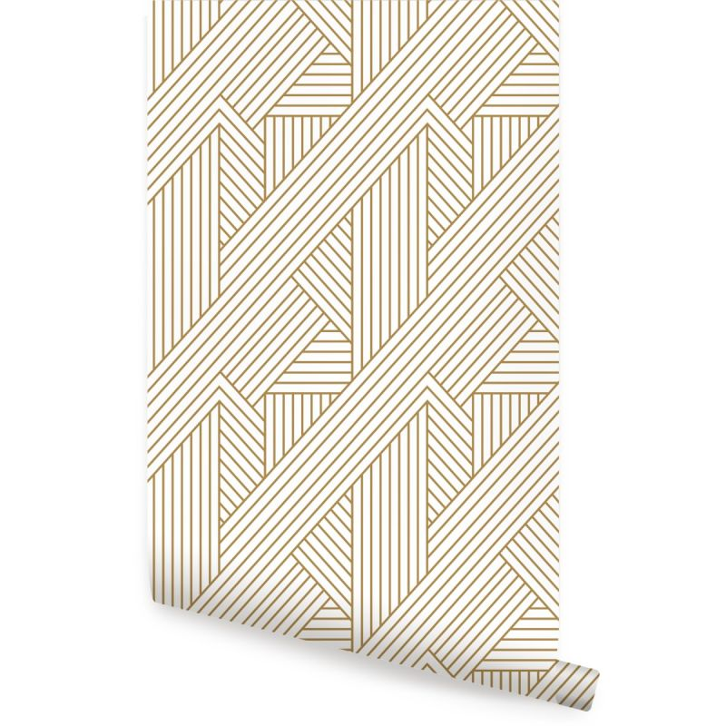Interwoven Parquet Pattern Peel and Stick Wallpaper - Gold