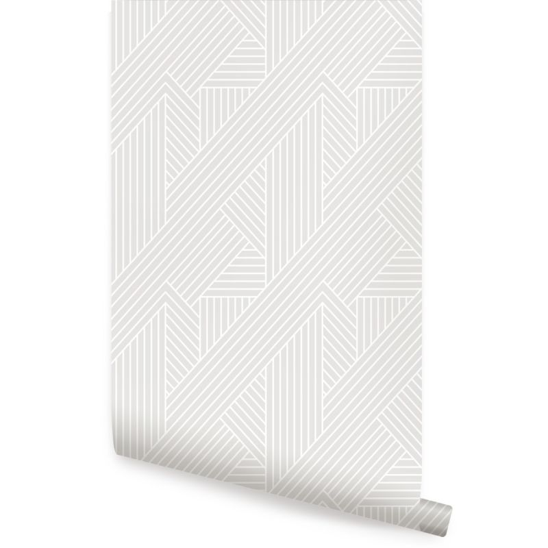 Interwoven Parquet Pattern Peel and Stick Wallpaper - Grey