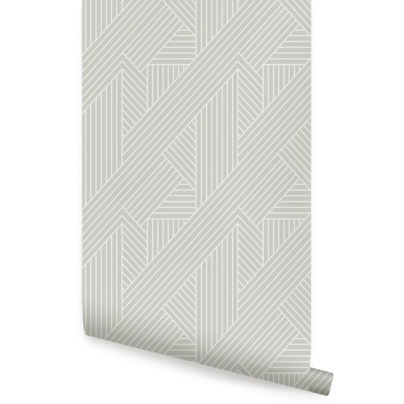 Interwoven Parquet Pattern Peel and Stick Wallpaper - Sage Beige