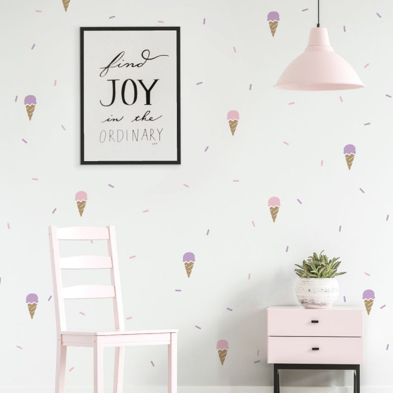 Ice Cream and Sprinkles Peel and Stick Wall Decal - Scheme A
