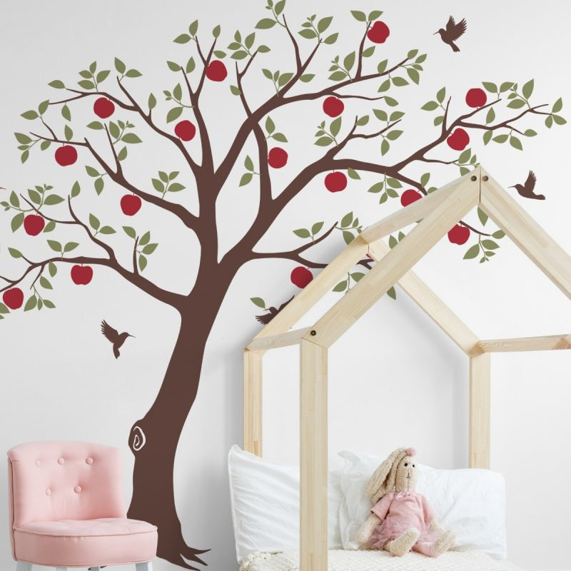 Fruit Tree with Hummingbirds Wall Decal
