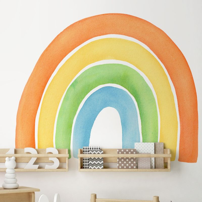 Watercolor Rainbow Peel and Stick Wall Sticker - Orange