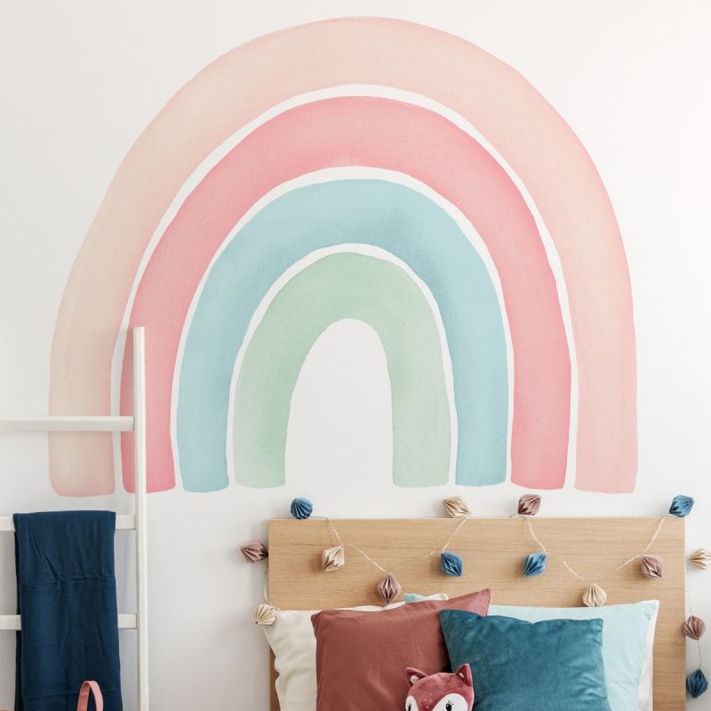 Watercolor Rainbow Peel and Stick Wall Sticker - Coral