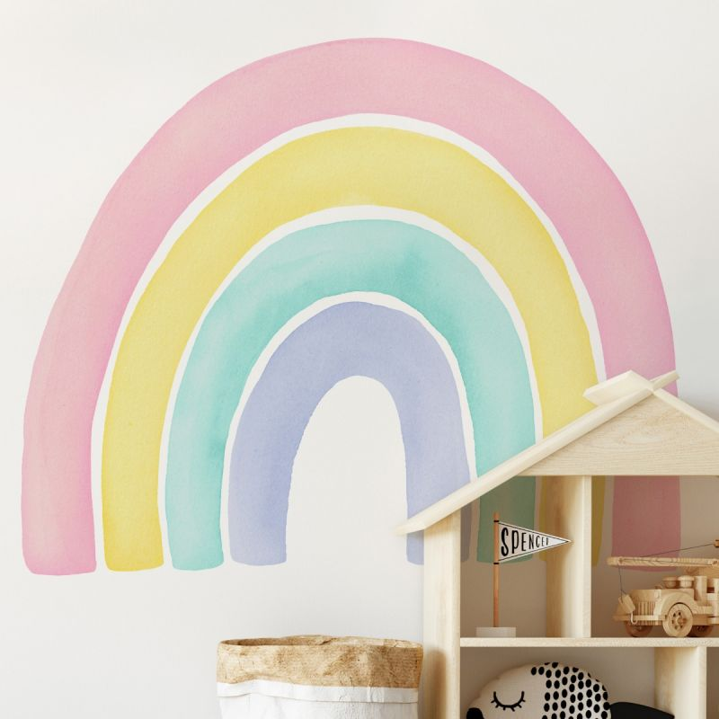 Watercolor Rainbow Peel and Stick Wall Sticker - Pink