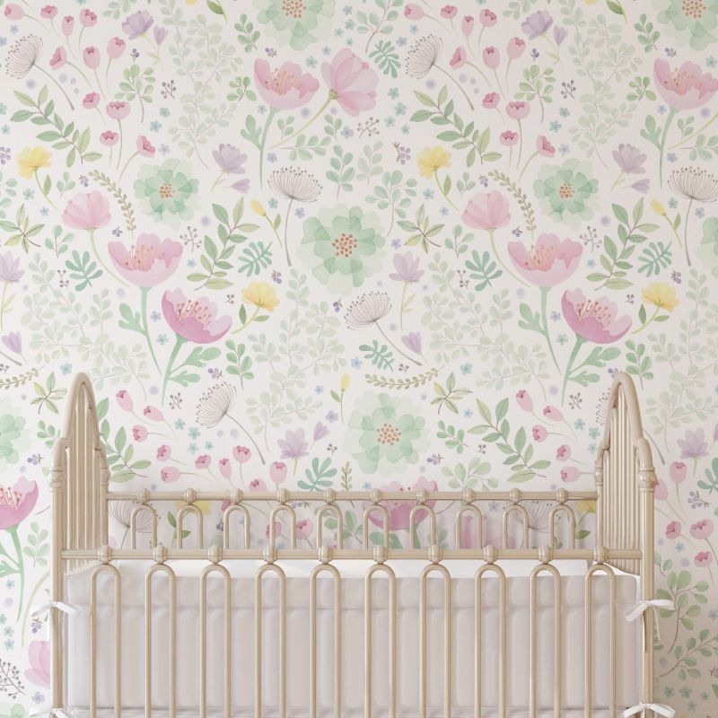 Whimsy Floral Watercolor Peel and Stick Mural - Pink Green