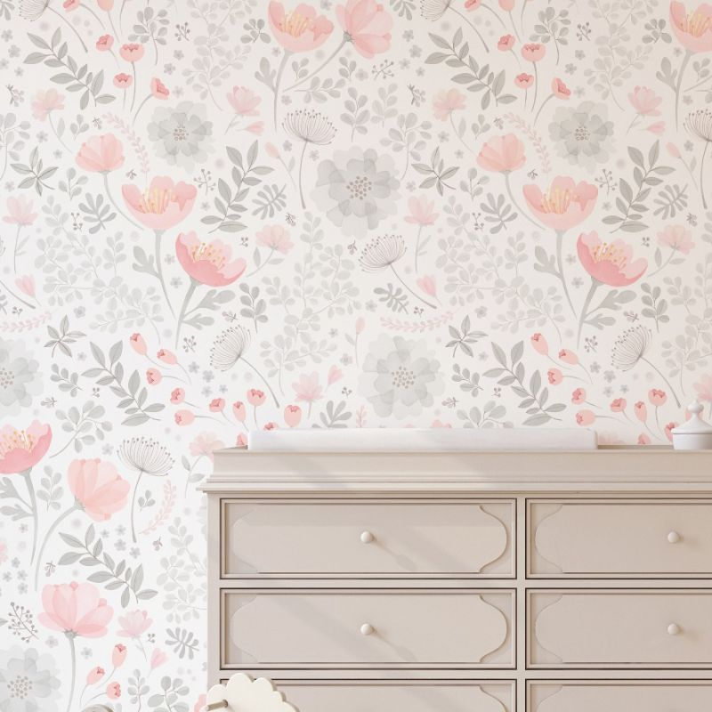 Whimsy Floral Watercolor Peel and Stick Mural - Coral Grey
