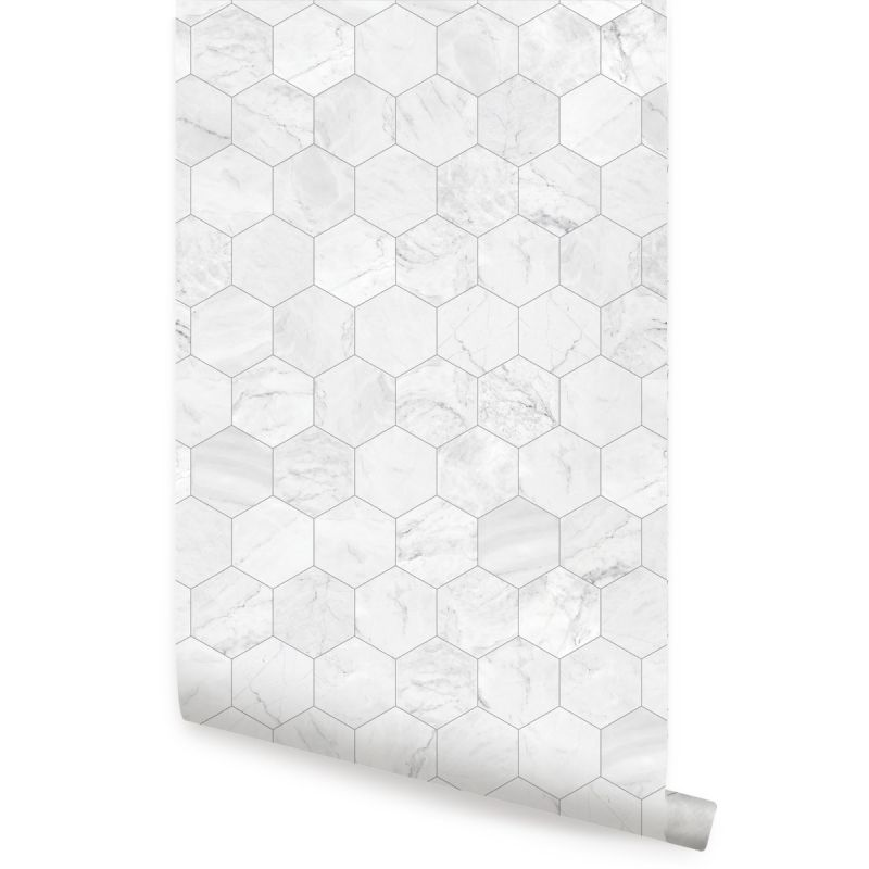 Hexagon Marble Large Peel and Stick Wallpaper - Grey