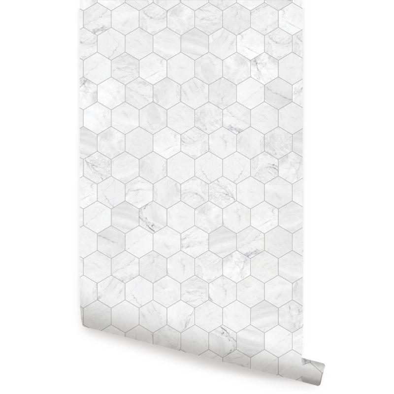 Hexagon Marble Small Peel and Stick Wallpaper - Grey