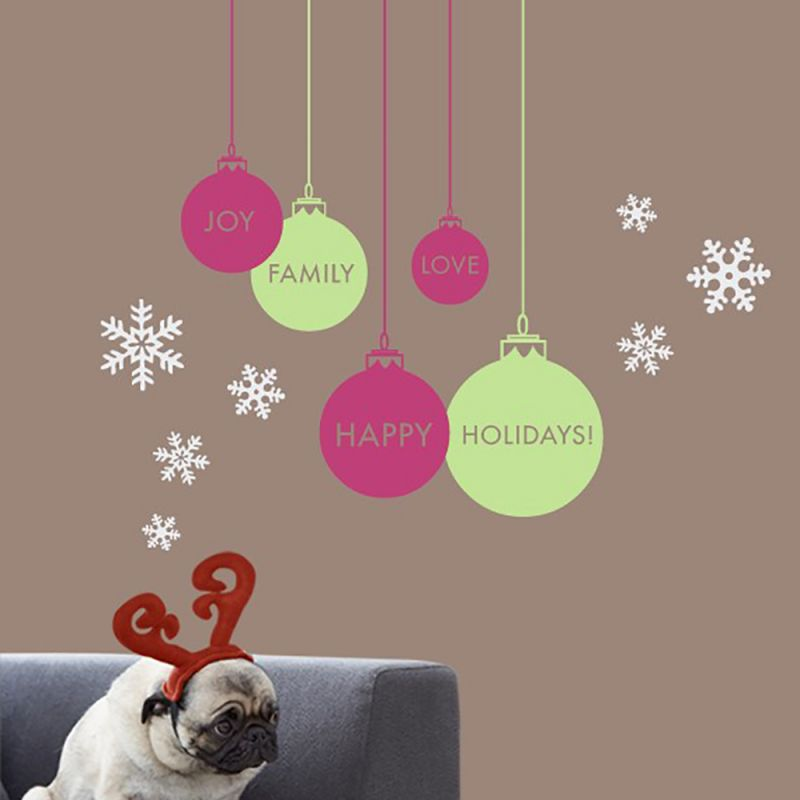 Winter Ornaments Wall Decal - Paradise Pink, Key Lime Pie, White