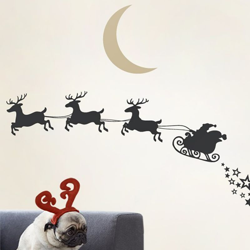 Winter Santa Wall Decal - Black and Desert Beige