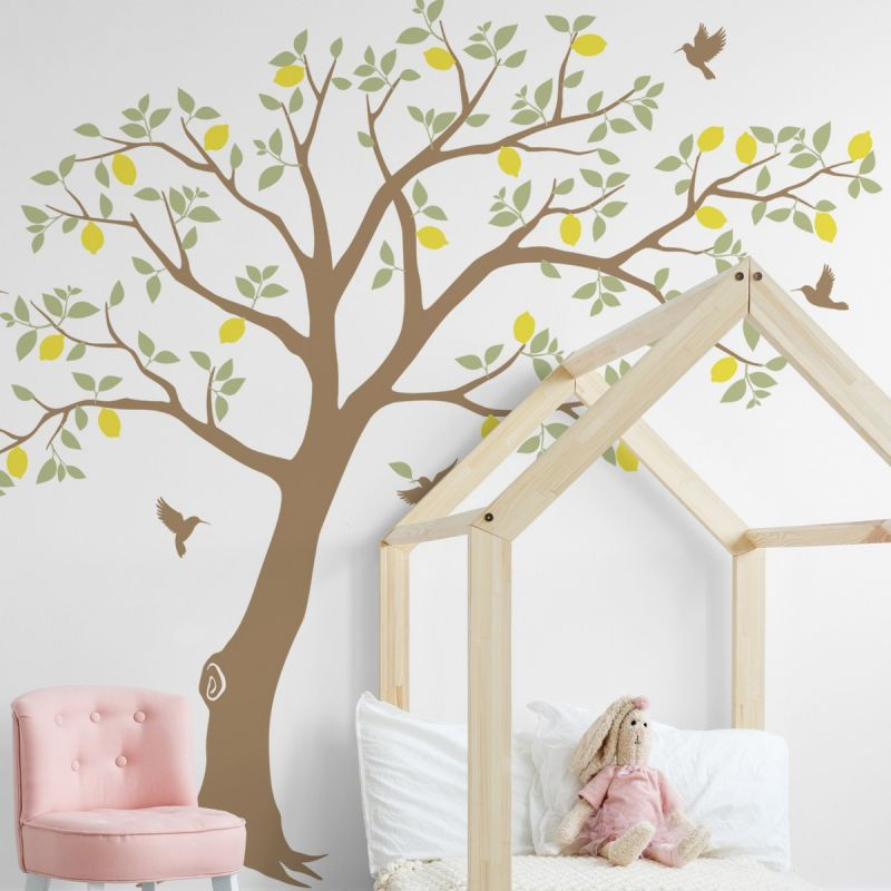 Fruit Tree with Hummingbirds Wall Decal - Lemon