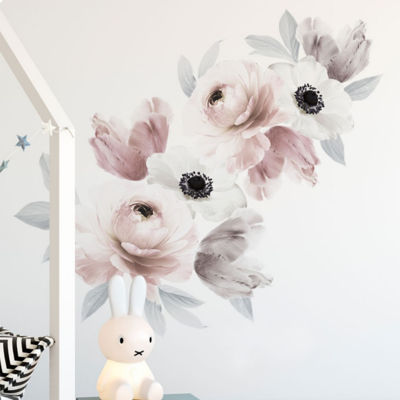 Floral Wall Sticker- Romantic Pink Grey