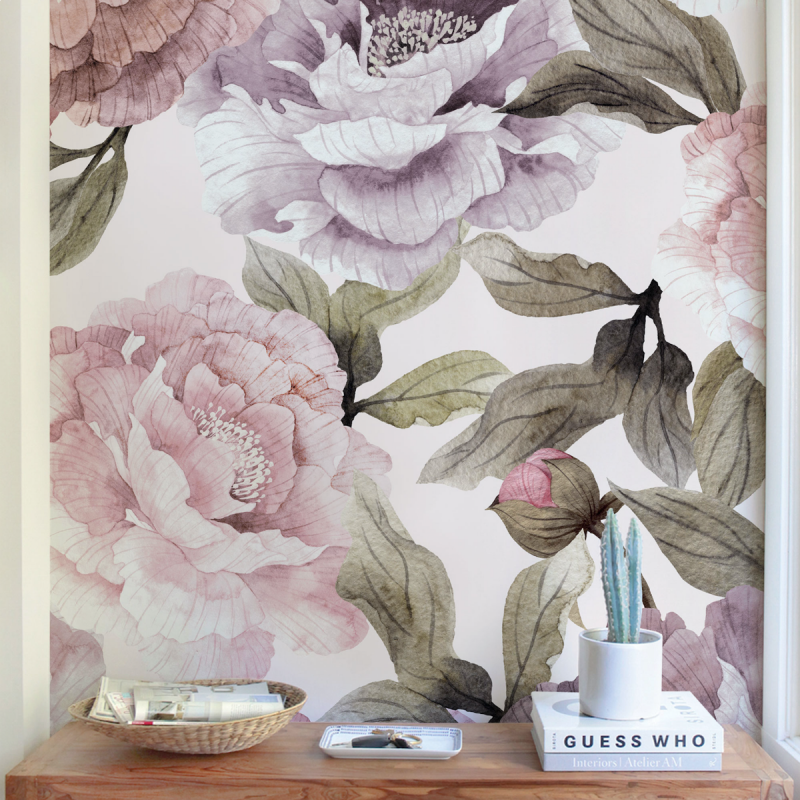 Bloom Flower Mural Wall Art  Wallpaper - Pink Purple