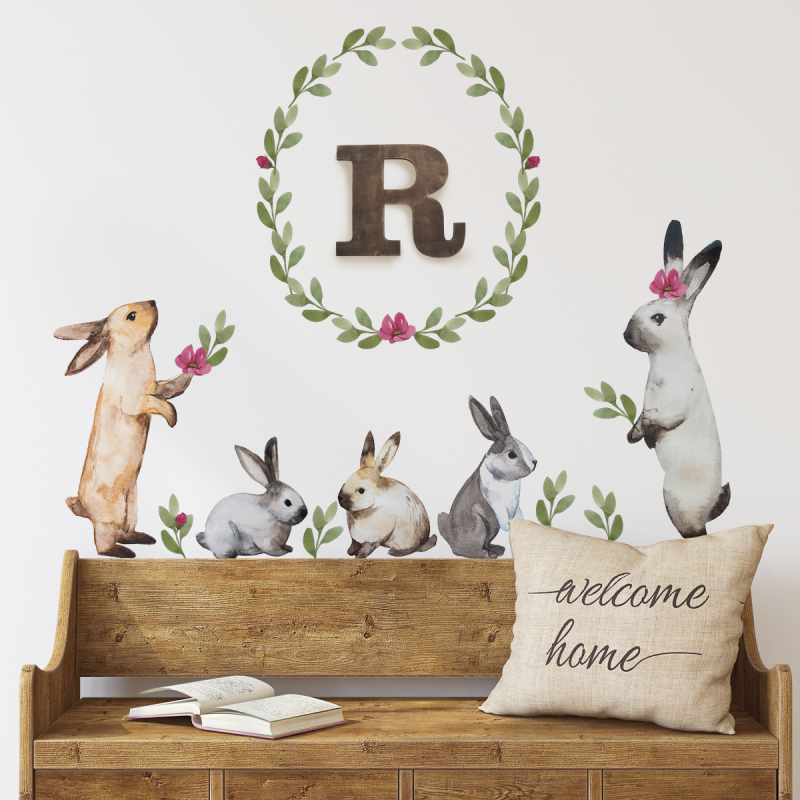 Bunnies and Leaves Watercolor Wall Stickers - Multi