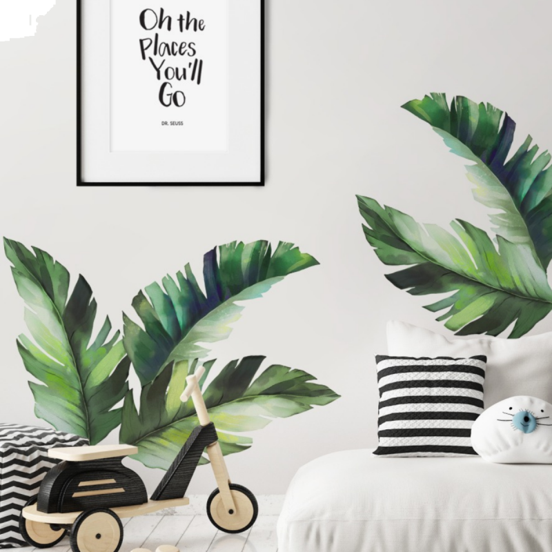 Watercolor Banana Tropical Jungle Leaves Wall Stickers