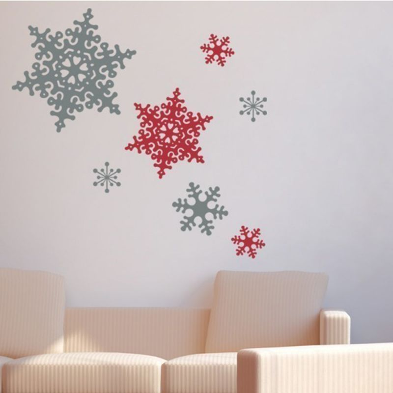 Winter Snowflake Wall Decal - White and Scarlet Red