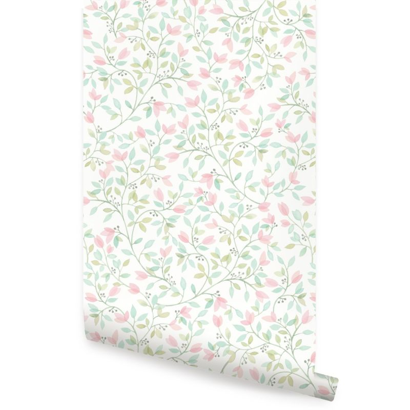 Floral Vines Watercolor Wallpaper- Coral Mint Green